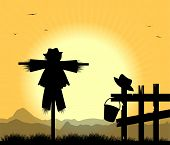 stock photo of scarecrow  - silhouette of scarecrows in the rural landscape - JPG
