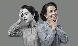 picture of 1950s style  - 1950s style woman expression changing from weakness to vitality - JPG
