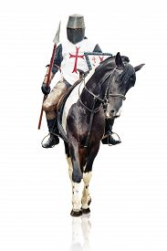 picture of jousting  - Medieval knight with the lance riding the horse - JPG