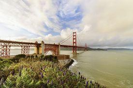 stock photo of suspenders  - The famous San Francisco Golden Gate Bridge in California United States of America - JPG