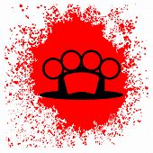 stock photo of brass knuckles  - Brass Knuckle  Icon and Blood Drop Isolated on White Background - JPG