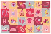 Постер, плакат: Newborn Baby girl icons set Baby shower puzzle