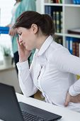 stock photo of high fever  - Office worker caught a cold and have high temperature - JPG