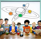 stock photo of responsible  - Center Saturn Universe Leadership Responsibility Concept - JPG