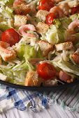 picture of caesar salad  - Caesar salad with shrimp and tomatoes close - JPG