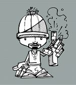 picture of spray can  - Hand drawn vector illustration or drawing of a cartoon graffitti artist with a spray paint can - JPG