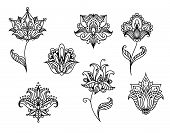 stock photo of embellish  - Black outline floral design elements in persian style with paisley flowers - JPG