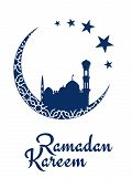stock photo of moon silhouette  - Ramadan Kareem Mubarak greeting card design with muslim mosques blue silhouette standing on white crescent moon and decorated with arabic ornament - JPG
