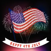 stock photo of firework display  - Fourth of July with firework Background vector - JPG