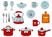 image of saucepan  - Happy smiling cartoon glassware and kitchenware characters with saucepan - JPG