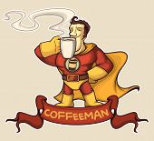 pic of superhero  - Superhero in a suit is enjoying a coffee. At the bottom of the tape with the name of a superhero - JPG