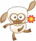 stock photo of bulge  - Cute sheep with white wool - JPG
