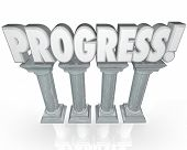 pic of proceed  - Progress word in 3d letters on stone or marble columns to symbolize forward momentum or improvement - JPG