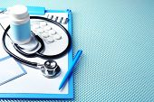 picture of medical supplies  - Medical supplies on blue table close - JPG