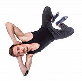picture of break-dance  - Break dancer doing an one handed handstand against a white background - JPG