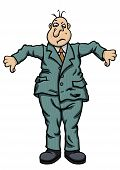 picture of untidiness  - Illustration untidy businessman in crumpled clothes with thumbs down - JPG