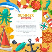 foto of yachts  - Summer Concept Flyer Template with Flat Marine icons - JPG