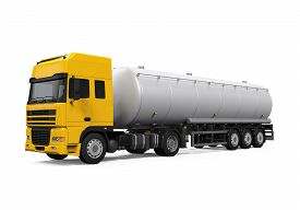 picture of tank truck  - Yellow Fuel Tanker Truck isolated on white background - JPG