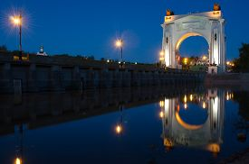 stock photo of lenin  - View of the first lock of the Volga - JPG
