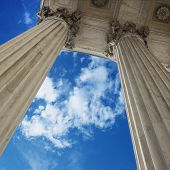 Low angle view of sky and columns of Supreme Court building in Washington D.C.