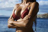 Borst shot van jonge volwassen Aziatische Tagalog in bikini op het strand in Maui Hawaii.