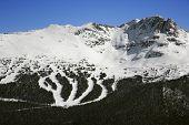 Ski resort trails on mountain in Whistler, British Columbia, Canada.