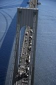 Aerial view of traffic on Verrazano-Narrows Bridge in New York City.