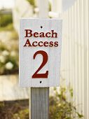 Sign for public beach access number two.