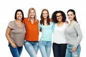 friendship, fashion, body positive, diverse and people concept - group of happy different size women poster