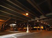 Urban parking under building in Chicago, Illinois.