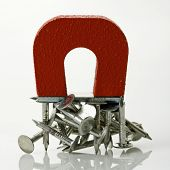 Red magnet holding metal nails on white background.