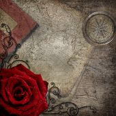 Old Compass, Maps, Red Rose