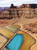 Aerial landscape of tailing ponds for mineral waste in rural Utah, United States.