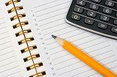 Notebook (Organizer), Pencil And Calculator