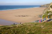 Watergate Bay Beach From The Cliffs, Cornwall, Uk