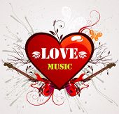 Abstract heart with guitars for design and background.