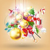 Christmas abstract background for xmas design with candy, snowman, sparkler, gift, fur tree and holly wreath for xmas design. eps 10
