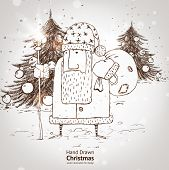 Christmas hand drawn Santa Claus with fur tree and gifts for xmas design. With balls.