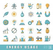 Постер, плакат: Set of flat line energy icons Various energy sources Various kinds of energies for use in industry