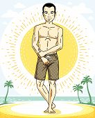 Handsome Brunet Man Standing On Tropical Beach And Wearing Beachwear Shorts. Vector Human Illustrati poster