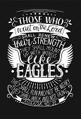 Hand Lettering Those Who Wait On The Lord Shall Renew Their Strength. Biblical Background. Christian poster