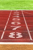 Running Track Lines With Green Grass. Running Track. Stadium Track. poster