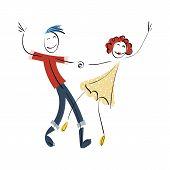 Doodle Stickman Illustration Concept. Dancing Couple. Vector Image. poster