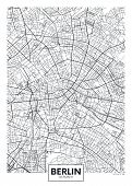 Detailed Black And White Vector Poster City Map Berlin poster