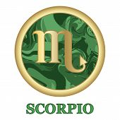 Scorpio Zodiac Sign Icon Isolated. Astrology And Horoscope Graphic Design Element. Golden Symbol On  poster