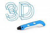 Technology Concept. 3d Printing Pen Near Plastic 3d Letters Sign On A White Background. 3d Rendering poster