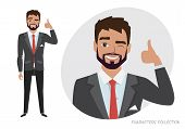 Positive Guy Smiling And Recommended. Happy Man In Casual Cloth. Laughing Man Showing Thumbs Up. poster