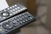 Tv Remote Controls Close Up