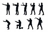 Illustration Of Man With Gun Silhouette In Different Poses In Set On White Background poster