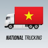 Symbol Of National Delivery Truck With Flag Of Vietnam. National Trucking Icon And Vietnam Flag poster